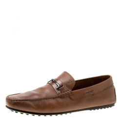 Tod's Brown Leather Doppia T Loafers Size 44.5