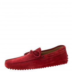Tod's Red Suede Bow Detail Loafers Size 45