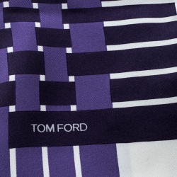 Tom Ford Off White and Purple Basket Weave Printed Silk Pocket Square