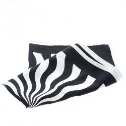 Tom Ford Monochrome Abstract Swirl Print Silk Pocket Square