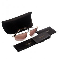 Tom Ford Gold/Brown TF189 Nicholai Aviator Sunglasses