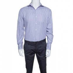 647b00d727 Tom Ford Purple and White Checkered Cotton Button Front Shirt L
