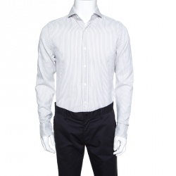 ee7eb46c79 Tom Ford White and Grey Striped Cotton Long Sleeve Button Front Shirt L