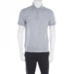 5ea122d7 Tom Ford Grey Piquet Logo Embroidered Short Sleeve Polo T-Shirt M