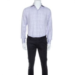 Tom Ford White & Lavender Checked Cotton Button Front Shirt M