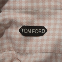 Tom Ford Pale Pink Gingham Check Textured Cotton Button Front Shirt M