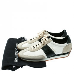 Tom Ford Tricolor Canvas And Suede Sneakers Size 41.5
