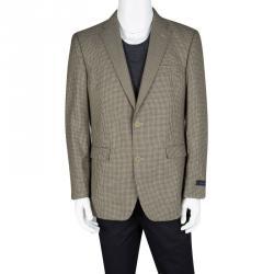 Tommy Hilfiger Brown Houndstooth Pattern Regular Fit Tailored Blazer L