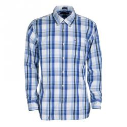 Tommy Hilfiger Blue Checked Cotton Long Sleeve Button Front Custom Fit Shirt L