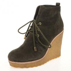 6ca652ba5f7 Tory Burch Olive Green Suede Lace Up Vicki Wedges Size 39.5