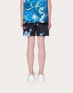 Valentino Black Fishrain Print Nylon Bathing Suit Small / IT 46