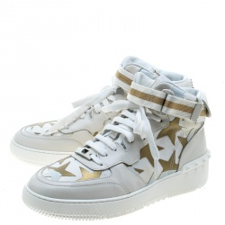 Valentino White Camouflage Canvas and Leather Rolling Rockstud High-Top Sneakers Size 42