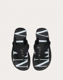 Valentino Black Neoprene and Leather VLTN Flip Flops Size 42