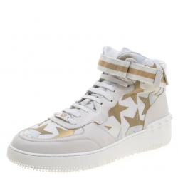 72c90cfc861b Valentino White Camouflage Canvas And Leather Rolling Rockstud High-Top  Sneakers Size 43