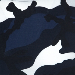Valentino Navy Blue Camouflage Print Cotton Crew Neck T-Shirt L