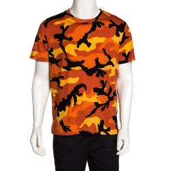 Valentino Orange Cotton Camouflage Print T Shirt M