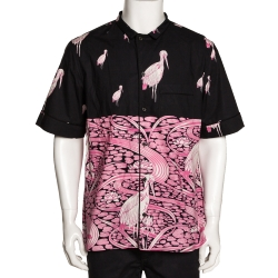 Valentino Black & Pink Cotton Japanese Pond Print Short Sleeve Shirt XL