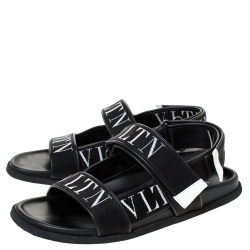 Valentino Black Fabric and Leather VLTN Band Sandals Size 41