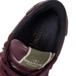 Valentino Burgundy Leather and Suede Rockstud Sneakers Size 42