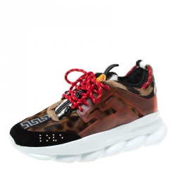 Versace Multicolour Leopard Print Calfhair and Rubber Chain Reaction Lace Up Sneakers Size 43