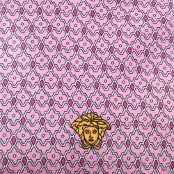 Versace Pink and Purple Floral Printed Silk Medusa Head Detail Traditional Tie