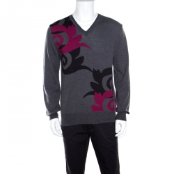 f662b521 Versace Collection Grey Wool Patterned V-Neck Sweater L