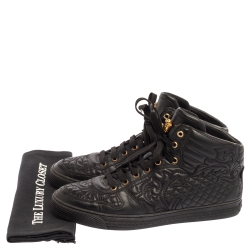 Versace Black Embroidered Leather Medusa High Top Sneakers Size 43