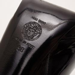 Versace Patent Leather Medusa Stamp Boots Size 38