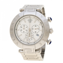 4a9f8a9b1 Versace Silver Stainless Steel Reve VQZ Chronograph Men's Wristwatch 46 mm
