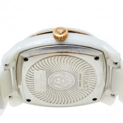 Versace White Ceramic Stainless Steel DV One 01A C1 Men's Wristwatch 41 mm