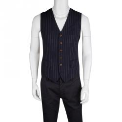 Vivienne Westwood Navy Blue Striped Wool Contrast Back Panel Detail Waistcoat L