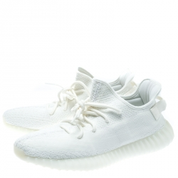 Yeezy x Adidas Cream White Cotton Knit Boost 350 V2 Sneakers Size 44.5