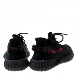 Yeezy x Adidas Black/Red Cotton Knit Boost 350 V2 Sneakers Size 44