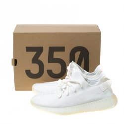 Yeezy x Adidas Cream White Cotton Knit Boost 350 V2 Sneakers Size 41.5