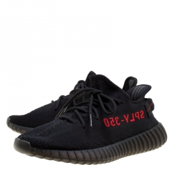 Yeezy x Adidas Black/Red Cotton Knit Boost 350 v2 Sneakers Size 42.5