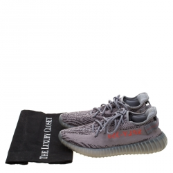 Yeezy x Adidas Grey Knit Fabric Beluga Boost 350 V2 Lace Up Sneakers Size 42