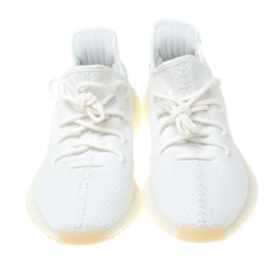 Yeezy x Adidas Cream White Cotton Knit Boost 350 V2 Sneakers Size 43.5