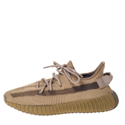 Yeezy x Adidas Brown Cotton Knit and Mesh Boost 350 V2 Earth Sneakers Size 40.5