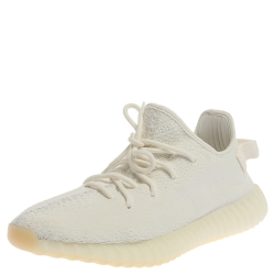 Adidas Yeezy White Cotton Knit Fabric Boost 350 V2 Triple Sneakers Size (US 11/UK 10.5/EU 44)