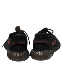 Yeezy x Adidas Black/Red Knit Fabric Boost 350 V2 Sneakers Size 42 2/3