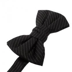 Yves Saint Laurent Black Lurex Striped Silk Bow Tie