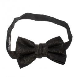 Yves Saint Laurent Black Textured Metallic Jacquard Bow Tie