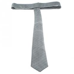Yves Saint Laurent Grey Textured Silk Jacquard Tie