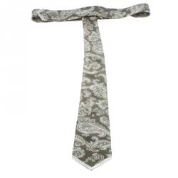 Yves Saint Laurent Brown Paisley Printed Silk Crepe Tie