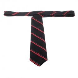 Yves Saint Laurent Vintage Black and Red Diagonal Striped Silk Tie