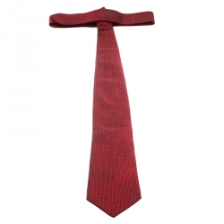 Yves Saint Laurent Red and Pink Embroidered Silk Traditional Tie