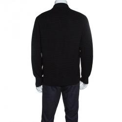 Z Zegna Techmerino Black Wool Zip Front Jacket L
