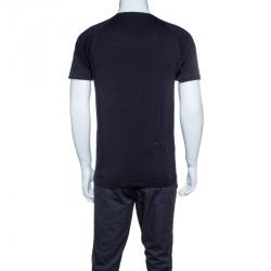 Z Zegna Techmerino Navy Blue Slub Jersey Raglan Sleeve T-Shirt M