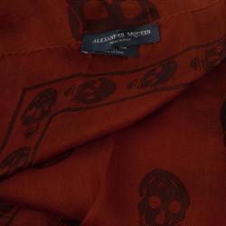 Alexander McQueen Classic Orange Skull Print Scarf