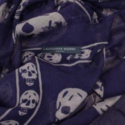 Alexander McQueen Classic Blue Skull Print Scarf